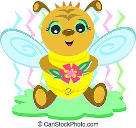 bébé, fleur, abeille