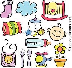 bébé, griffonnage, divers, jouets