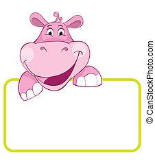 bébé, hippo., bannière, animal