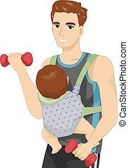 bébé, homme, travail, fronde, dehors