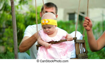 bébé, jardin, famille, balançoire