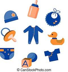bébé, jouets, ensemble, habillement