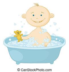 bébé, laver, bain