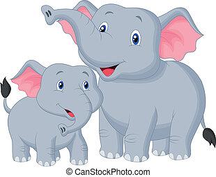 bébé, mère, dessin animé, éléphant