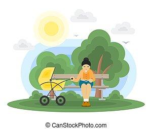 bébé, mère, voiture, parc, jeune