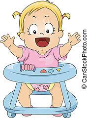 bébé, marcheur, girl, enfantqui commence à marcher