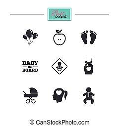 bébé, maternité, grossesse, icons., soin