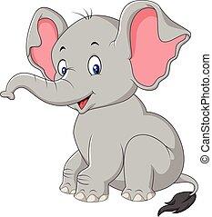 bébé, mignon, éléphant, dessin animé, séance