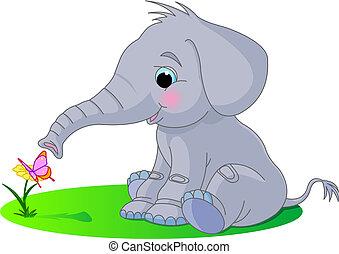 bébé, mignon, éléphant