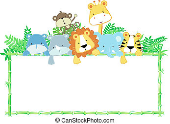 bébé, mignon, cadre, animaux, jungle