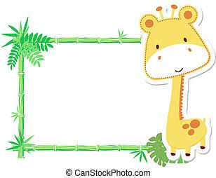 bébé, mignon, cadre, girafe