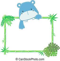 bébé, mignon, cadre, hippopotame