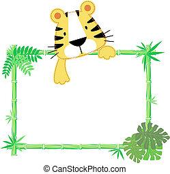 bébé, mignon, cadre, tigre