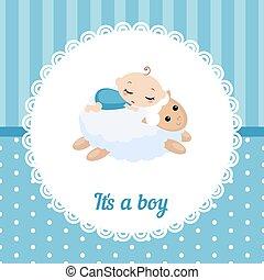 bébé, mignon, card., garçon