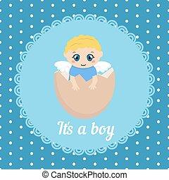 bébé, mignon, carte, garçon