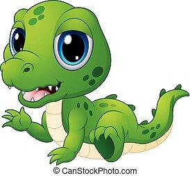 bébé, mignon, dessin animé, crocodile