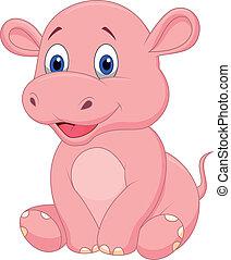 bébé, mignon, dessin animé, hippopotame
