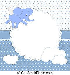 bébé, mignon, elephant-angel, carte, garçon