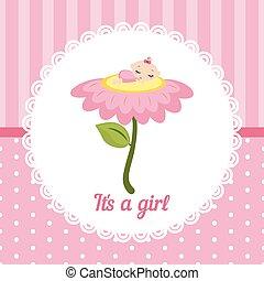 bébé, mignon, girl, card.