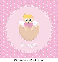 bébé, mignon, girl, carte