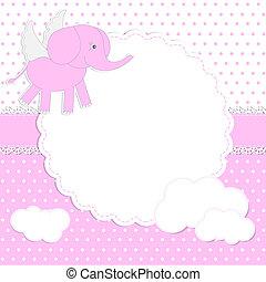bébé, mignon, girl, elephant-angel, carte