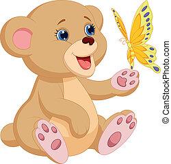 bébé, mignon, jouer, ours, dessin animé