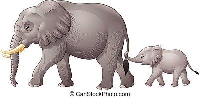 bébé, mignon, mère, éléphant
