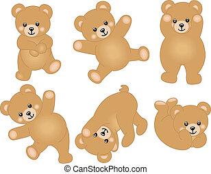 bébé, mignon, ours, teddy