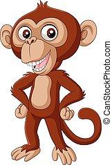 bébé, mignon, poser, dessin animé, chimpanzé