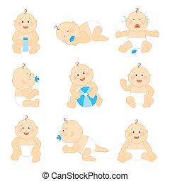 bébé, mignon, vecteur, couche, illustration