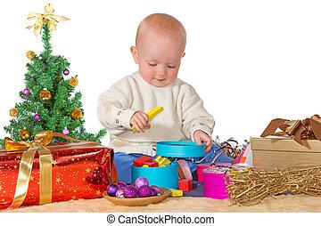 bébé, noël heureux, cadeau, jouer