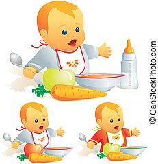 bébé, nourriture solide, nutrition, lait