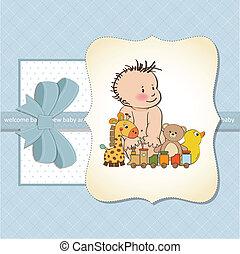 bébé, nouveau, garçon, carte, annonce