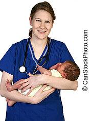 bébé, nouveau né, infirmière