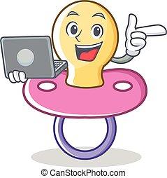 bébé, ordinateur portable, caractère, dessin animé, tétines