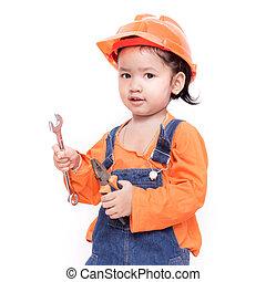 bébé, outils, ingénieur, main, asiatique