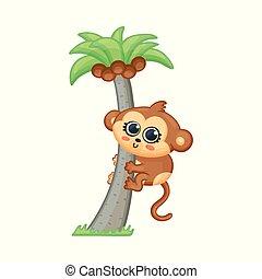 bébé, paume, illustration., dessin animé, kawaii, escalade, mignon, arbre, singe, vecteur