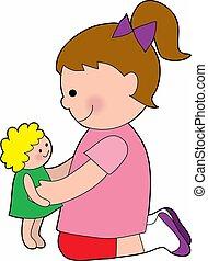 bébé, petite fille, poupée