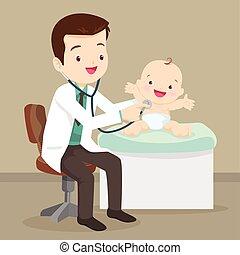 bébé, peu, pédiatre, docteur, examiner