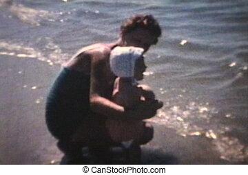 bébé, plage, va, (1963)