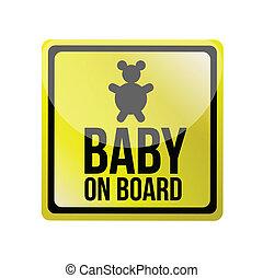 bébé, planche, illustration, signe