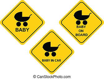 bébé, planche, signe