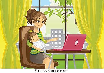 bébé, portable utilisation, mère