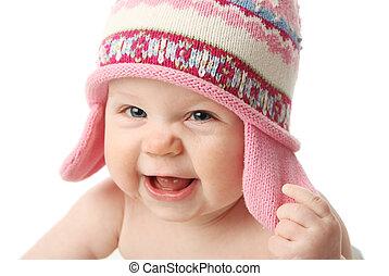 bébé, porter, chapeau, hiver
