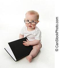 bébé, porter, verres lecture