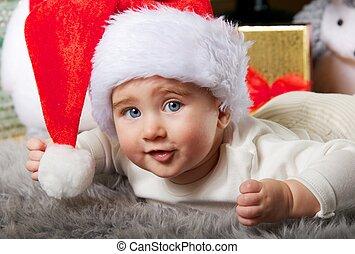 bébé, portrait, gros plan, santa