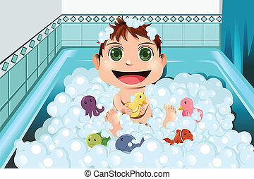 bébé, prendre, bain moussant