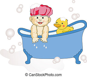 bébé, prendre, bain