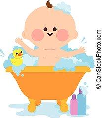 bébé, prendre, vecteur, bath., illustration