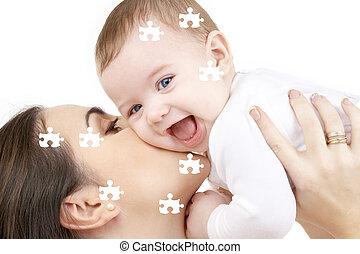 bébé, puzzle, jouer, rire, mère